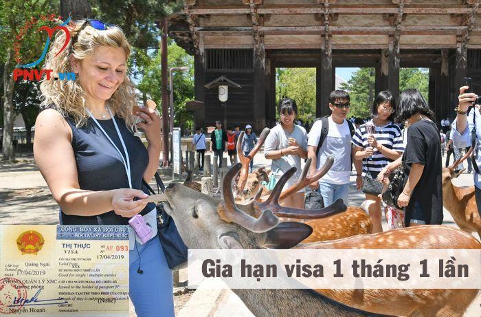 gia hạn visa 1 tháng 1 lần cho người nước ngoài du lịch