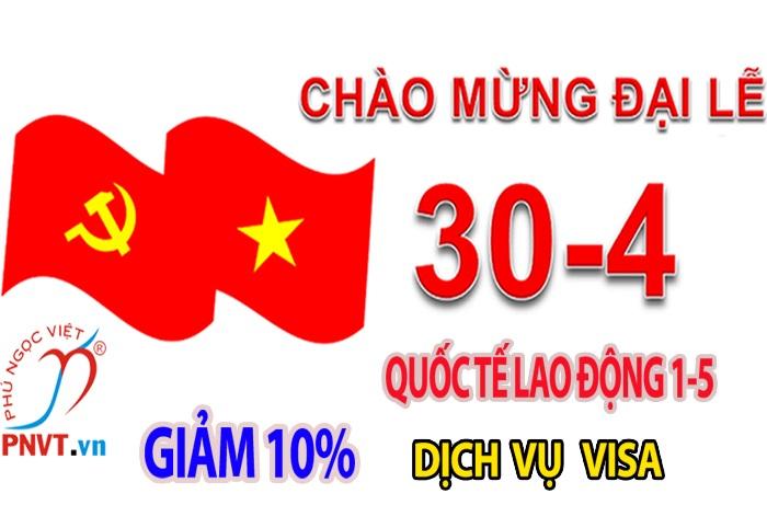 Giảm giá 10% phí dịch vụ thứ hai khi gia hạn visa dịp Lễ 30/4 và 1/5