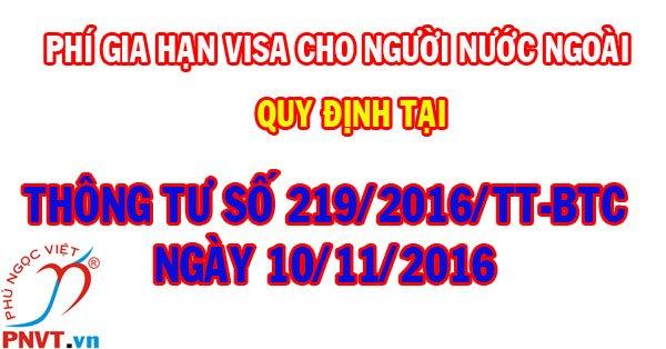 lệ phí gia hạn visa cho người nước ngoài