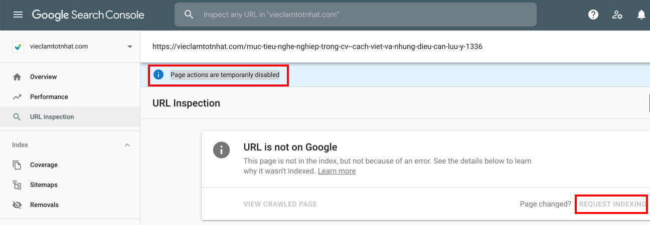 Page actions are temporarily disabled là lỗi gì