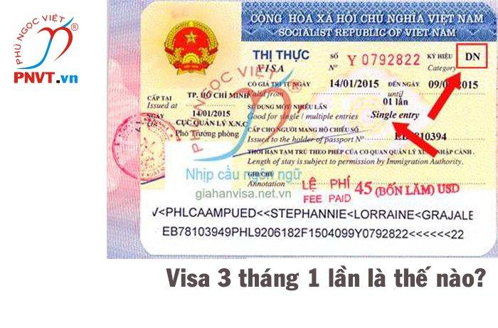 visa 3 tháng 1 lần là như thế nào